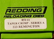 85111 Redding 223 Remington Taper Crimp Die