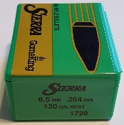 1728 Sierra 6.5 / 264 Cal 130gr HPBT GameKing Bullets