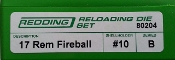 80204 Redding 2-Die Full Length Fireball Die Set 17 Remington