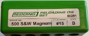 80291 Redding 3-Die Straight Wall FL Die Set 500 S&W Magnum