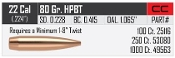 "25116 Nosler Custom Competition 22 Cal .224"" 80 gr HPBT Bullets"