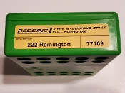 77109 Redding Type-S Full Length Bushing Size Die 222 Remington